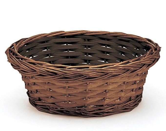 Round Dark Stained Willow Basket