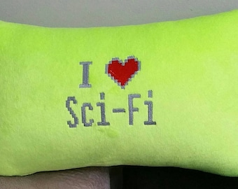 I heart love sci-fi pillow Green