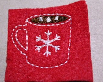 Hot cocoa with marshmallow mug feltie, Hot cocoa in mug with snowflake on red felt,4 pcs for hair accessories, scrap booking or crafts