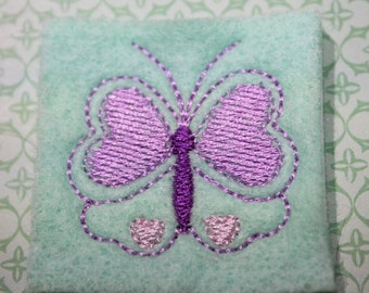 Butterfly feltie on light mint green felt, lt/medium purple heart accent felt stitchies, 4 pcs for hair accessories, scrapbooking, or crafts