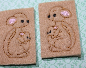 Kangaroo feltie, choice of left or right, kangaroo w/ joey felt stitchies. camel tan felt, for hair accessories, scrap booking or crafts