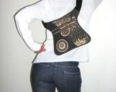 Bike Bag Hip Bag Fanny Pack with two pockets hipster waist wallet Belt Bag bohemian festival purse mixed fabrics Dark gray Hasel Beige