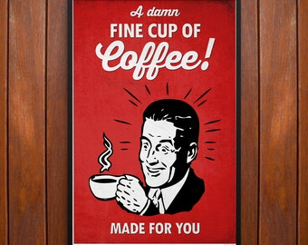 Twin Peaks Poster, A Damn Fine Cup of Coffee! Poster or Framed Print