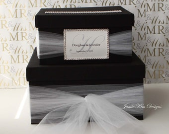 Wedding Card Box Money Box Gift Card Box with Rhinestones around the card slot