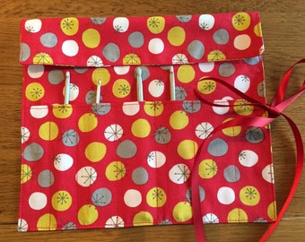 Red Crochet Hook Roll or Wrap Craft Storage in cotton Fabric