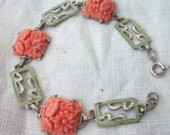 Vintage Faux Coral ~ Floral Molded Glass ~ Deco Enameled Link Bracelet ~ Silver / Silver tone Metal