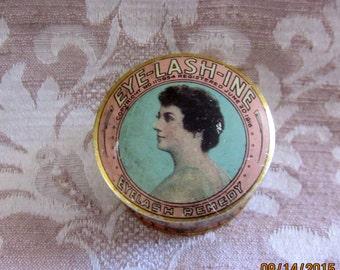 Antique Eye-Lashine Tin Box, Antique ad, 1900s tin, early advertising,Art Deco Tin,Pink and Green tin, early cosmetics