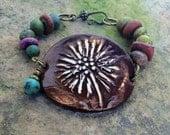 Boho Ceramic Cuff with Handmade Beads