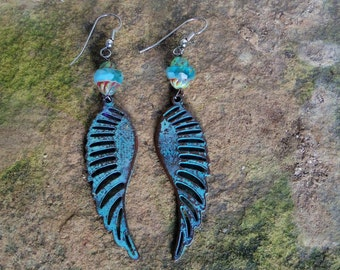 Verdigris Angel Wing Earrings Drop Dangle Aqua Turquoise