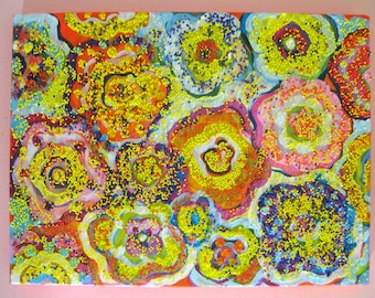 Floral - Abstract Original Acrylic Mixed Media Painting on Canvas Size 9x12