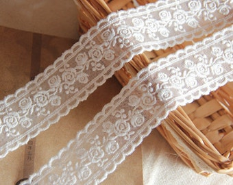 "14 yard 3.5cm 1.37"" wide ivory rose tulle gauze mesh embroidery lace trim ribbon gret4 free ship"