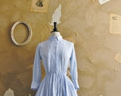 Vintage 1950s - Fit and Flare Pale Blue Cotton Shirtwaist Dress -Forget Me Not-