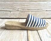 Stripe sabot espadrillas with 3cm heel, sailor jute shoes, handmade lace sabot MADE TO ORDER