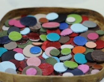 100 pcs Mixed Colors  Leather Circles , Mixed Sizes, Die Cut Genuine  Leather