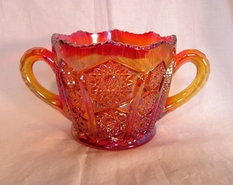 Carnival Glass Sugar Bowl by Indiana Glass / Red Sunset Heirloom Collection