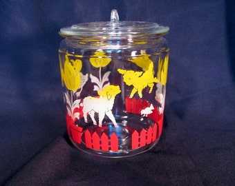 Nursery Glass Canister with Ducks, Lambs, and Bunnies / Anchor Hocking Canister for Nursery Decor