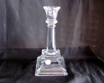 "Lead Crystal Candle Holder Art Deco Style 8"" Tall"