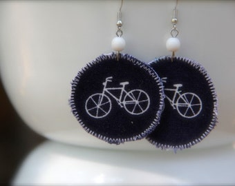 Blue bicycle earrings, retro bike jewelry, bike accessories, bicycle dangle earrings