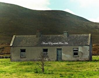 Ireland Photography, Irish Wall Art, Irish Countryside, Ruins, Blue Door, Farmhouse, Rustic, County Mayo, Abandoned, Rustic, Cottage, Travel