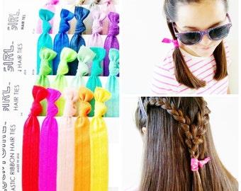 Hair Ties, Color Wheel, 20 ponytail holders, hair tie, elastic, hair bands, glitterband, lucky girl, ribbon hair tie