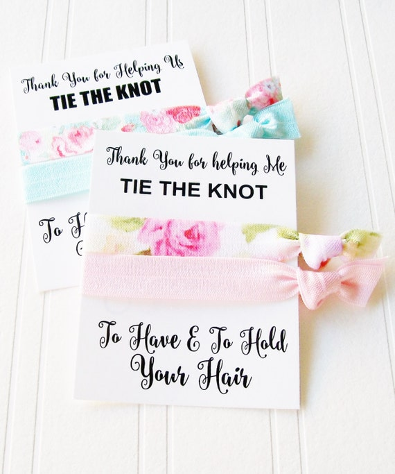 Thank you for helping Us Tie the Knot, Bridesmaid gift, gift for flower girl, Maid of Honor, Mother of the bride, hair tie gift card
