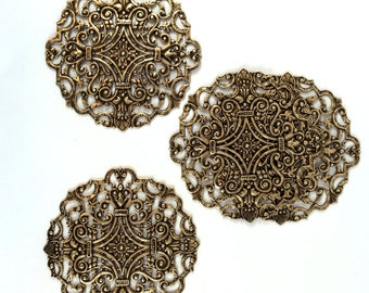Large Filigree Compact Top, Brass Filigree, Brass Ox, Dark Brass, US Made, Nickel Free, Bsue Boutiques, 83mm, Item08404