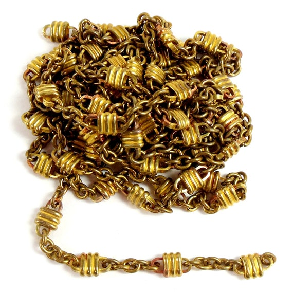 vintage jewelry chain jewelry making patina brass ribbed