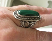 Sterling Malachite Navajo DM Begay Ring Size 10.5