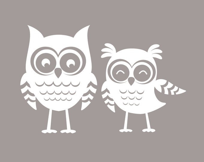 Owl Nursery Decor | Set of Two Owl Wall Decals