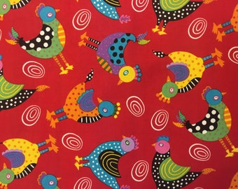 Chickens on Red - Giggle Feathers - Robin Roderick - By The Yard