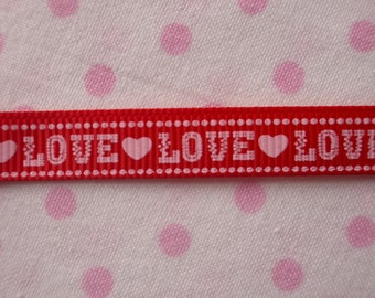 "Red LOVE Hearts Grosgrain Ribbon 3/8"" 9mm Wedding Engagement 5m or 10m FREE UK Postage"
