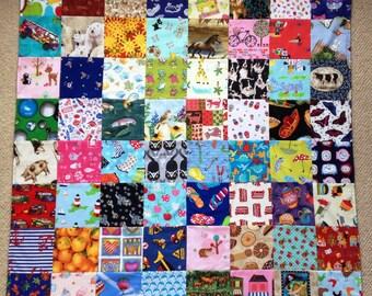Handmade Patchwork Baby Quilt/I Spy Blanket Cotton Animal/Novelty Play Mat