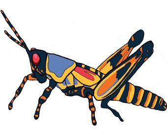Surreal Grasshopper Sticker - Gift - Art - New Year