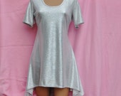 Custom Order Top Medium 12-14 Scoop Neck Pullover Shortsleeve Shirt - Short Tunic Dress Uneven Asymentrical Hemline Shimmering Silver