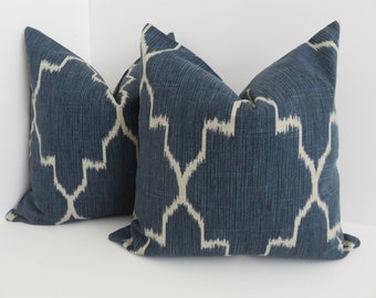 Trelis Blue Pillow Covers- Lacefield Blue PIllow- Ikat Blue Pillows- Morrocan Blue Pillows - Lattice Blue Pillow -  Ikat Navy Blue Pillows