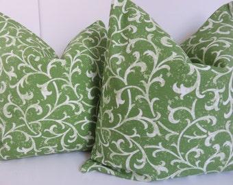 Green Floral Pillow - 20x20 Pillow Cover - Green Pillow Cover - Cream Green Pillow - Pillow Cover