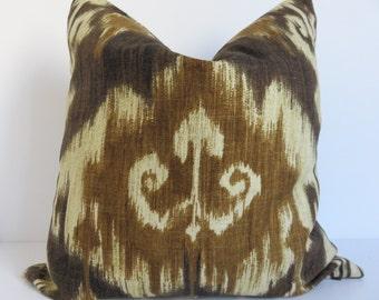 Ikat Brown Pillow - Pillow Cover - 16x16 Pillow Cover - Pillow - CReam Pillow