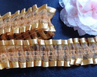 "Satin Edge Ruffle Lace Trim 1.5"" wide gold color selling by the yard"