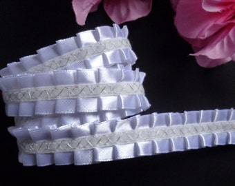 "Ruffle Trim – White 0.75"" Intricate Satin selling by the yard"