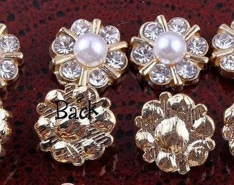 1/2 inch gold Mini Shiny Decorative Metal Rhinestone Buttons set of 3