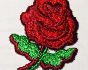 Iron on applique red rose