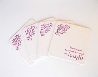 Motivational Coasters, Office Inspirational Gift, Laugh Coasters, Hand Stamped Drink Coasters