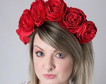 Red Rose Floral Crown