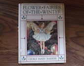 Vintage book - Flower Fairies of the Winter by Cicely May Barker - published 1990 - not in perfect condition - winter/Christmas/reprint