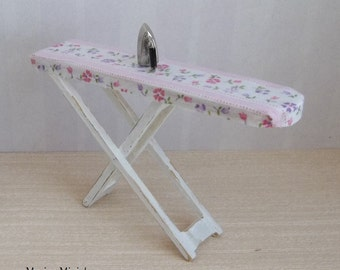 Cottage Ironing Board in 1:12 Scale for Dollhouse Miniature Laundry or Sewing Room