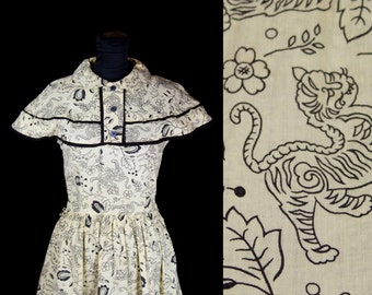 1950's Dress // Tiger and Deer Oriental Chinoiserie Novelty Print Cotton Dress by June Bentley