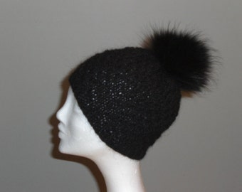 Icelandic black hat/cap hand knitted with Raccoon pom pom, ready to ship