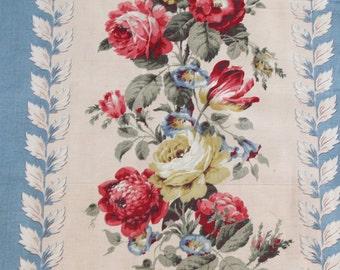 Vintage Roses Rayon Faille Fabric 5 Yards French Blue Red Roses Yardage Barkcloth Era 23 x 179