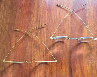 Antique 1920s 30s Eye Glasses Eyeglasses Reading Spectacles Glass Optics Metal Frames Deco Antique Free Ship!