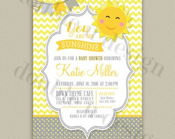 You Are My Sunshine - Printable Baby Shower Invitation (with color options)
